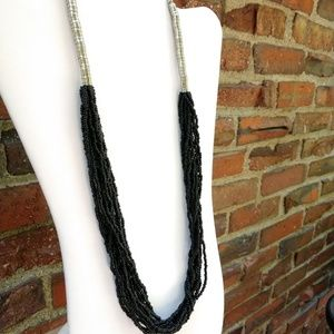 Jewelry - Black seed bead with silver accent necklace